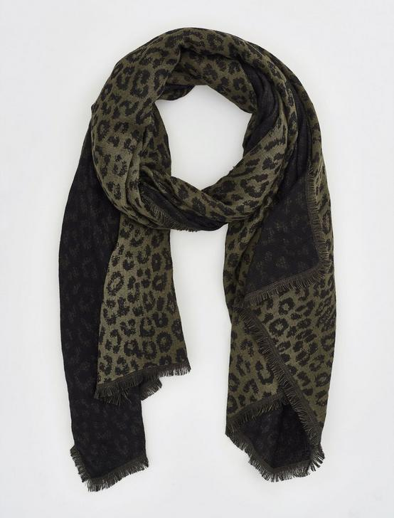 CHEETAH DUOFOLD SCARF, OLIVE MULTI, productTileDesktop