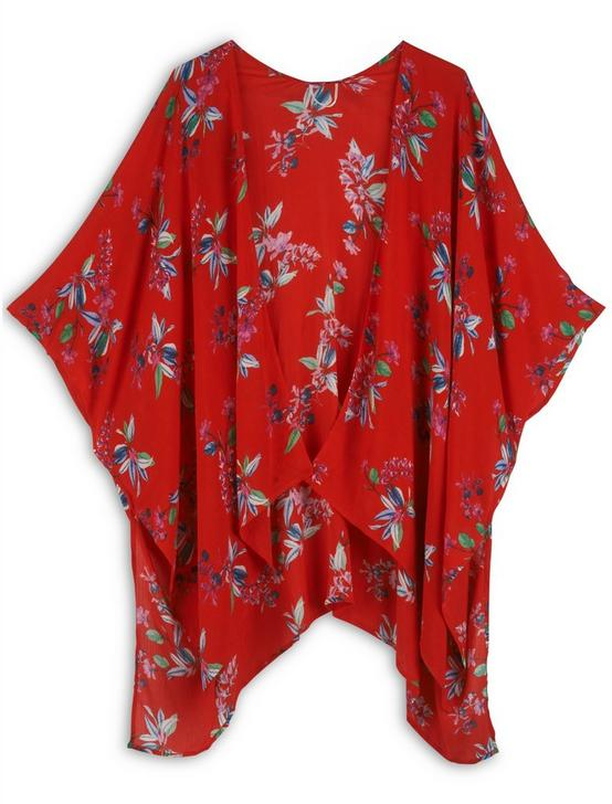 OPENWORK FLORAL KIMONO, RED, productTileDesktop