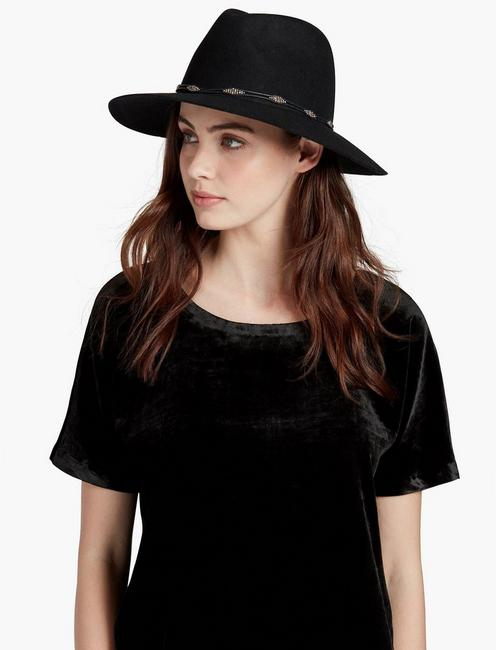 BEADED TRIM RANGER HAT, BLACK