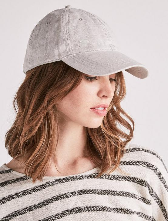 TEXTURED STRIPE BASEBALL HAT, LIGHT GREY, productTileDesktop