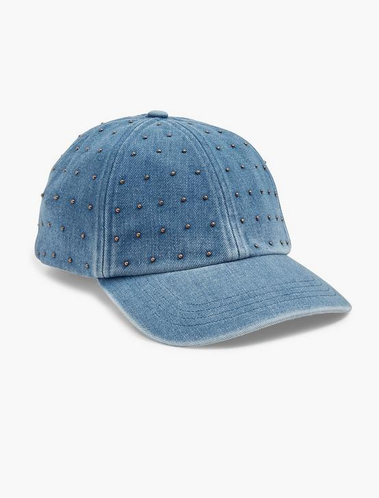STUDDED DENIM BASEBALL HAT, DENIM, productTileDesktop