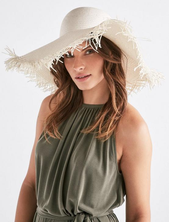 FRAYED STRAW HAT, CREAM, productTileDesktop