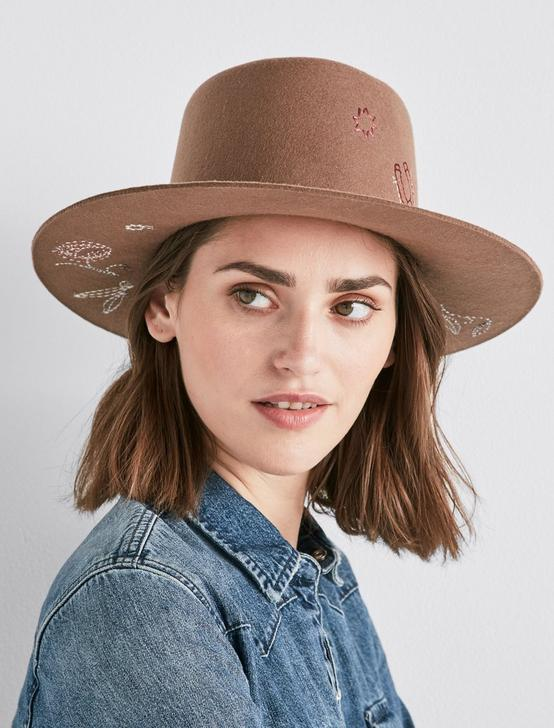 FLORAL EMBROIDERED WOOL HAT, BROWN, productTileDesktop