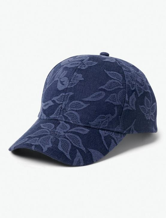 FLORAL EMBROIDERED BASEBALL HAT, NAVY, productTileDesktop