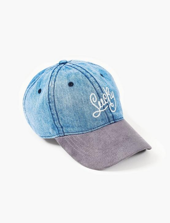 LUCKY BRAND BASEBALL HAT, DENIM, productTileDesktop