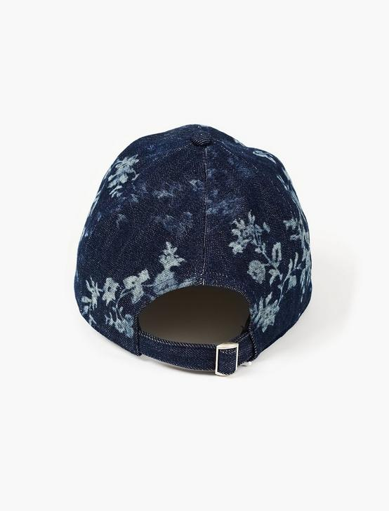 DENIM FLORAL BASEBALL HAT, DENIM, productTileDesktop