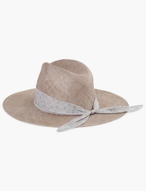 SCARF TRIM STRAW HAT, LAVENDER