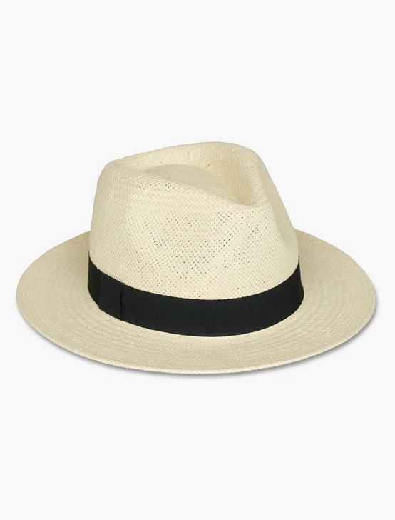 GROSGRAIN TRIM FEDORA HAT, NATURAL, productTileDesktop