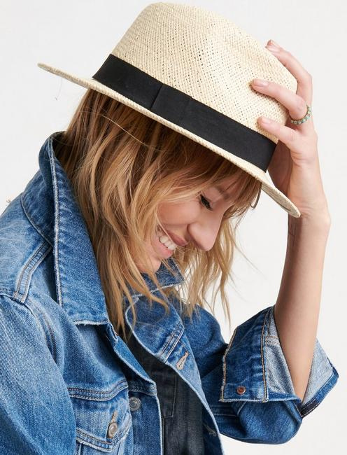 GROSGRAIN TRIM FEDORA, NATURAL