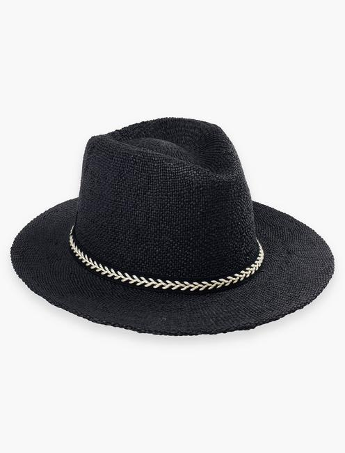 BLACK STRAW FEDORA,