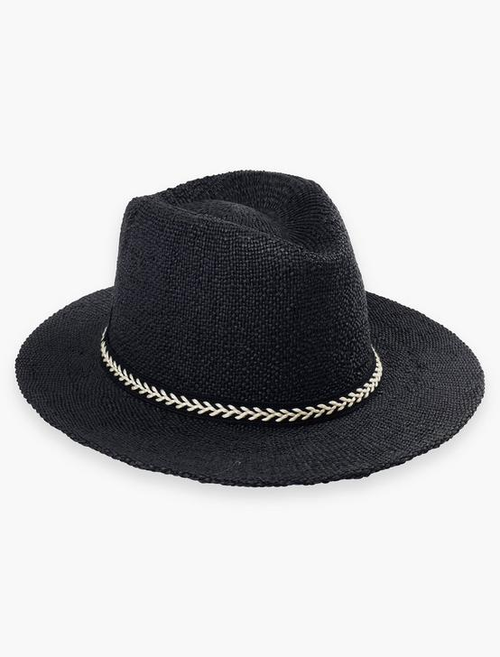 BLACK STRAW FEDORA, BLACK, productTileDesktop