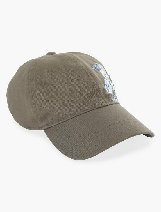 EMBROIDERED FLORAL BASEBALL HAT, OLIVE, productTileDesktop
