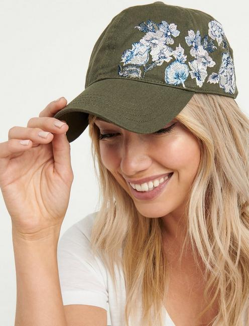 c575ca0da5ea8 ... OLIVE EMBROIDERED FLORAL BASEBALL HAT