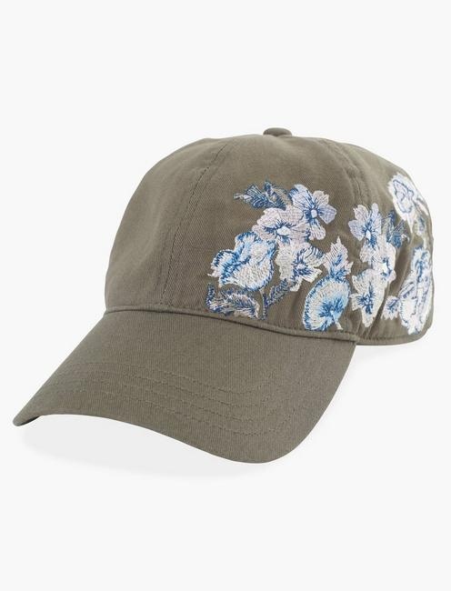 EMBROIDERED FLORAL BASEBALL HAT, OLIVE