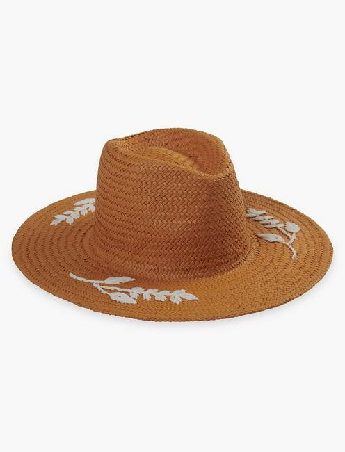 FLORAL EMBROIDERED STRAW HAT,