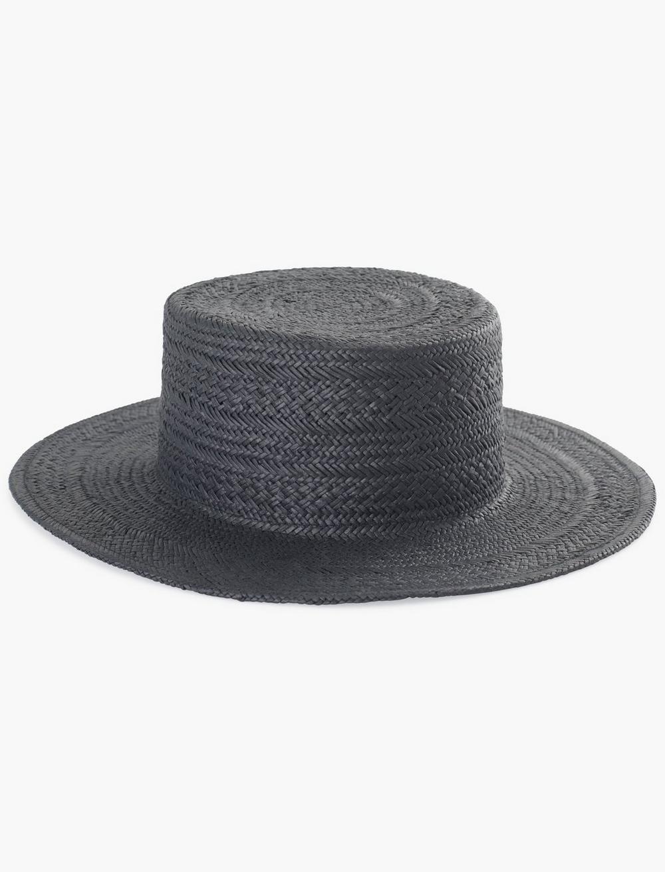 BLACK FLAT TOP BOATER HAT, image 1
