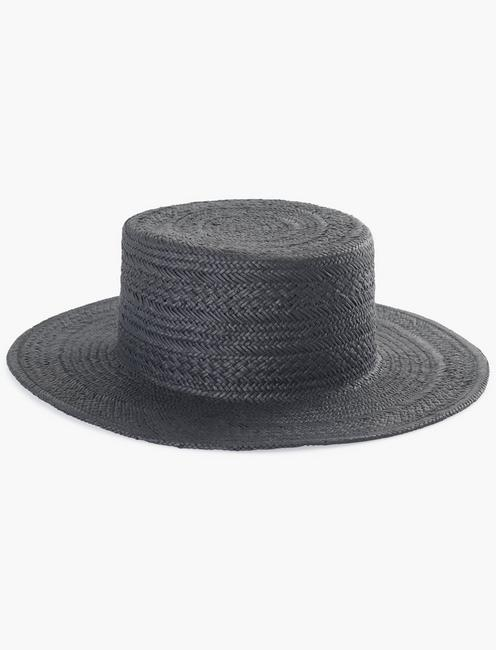 BLACK FLAT TOP BOATER HAT,