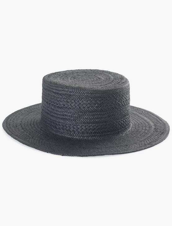 BLACK FLAT TOP BOATER HAT, BLACK, productTileDesktop