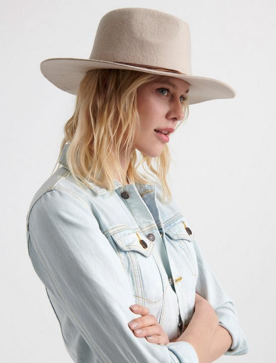 BRAIDED LEATHER WOOL HAT, CREAM, productTileDesktop