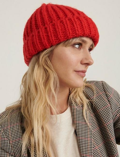 SOLID KNIT BEANIE HAT, RED