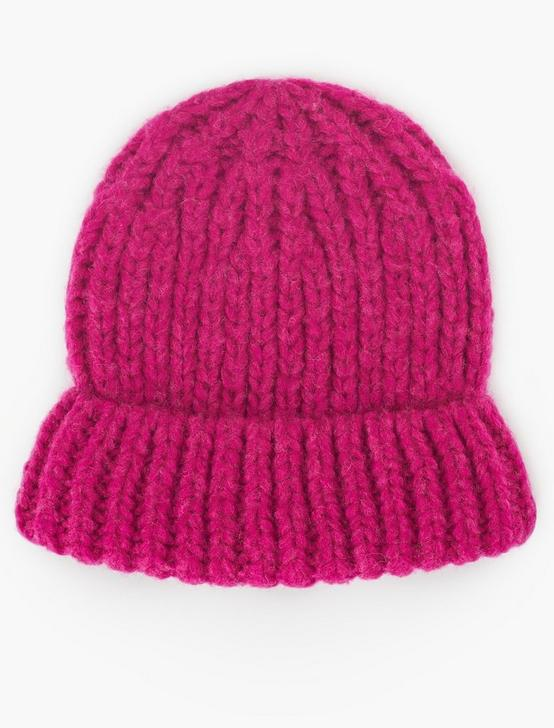 SOLID KNIT BEANIE, FUSCHIA, productTileDesktop