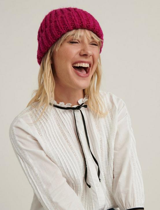 SOLID KNIT BEANIE HAT, FUSCHIA, productTileDesktop