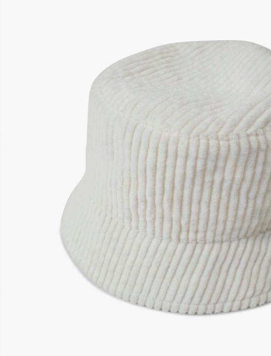 CORDUROY BUCKET HAT, WHITE, productTileDesktop