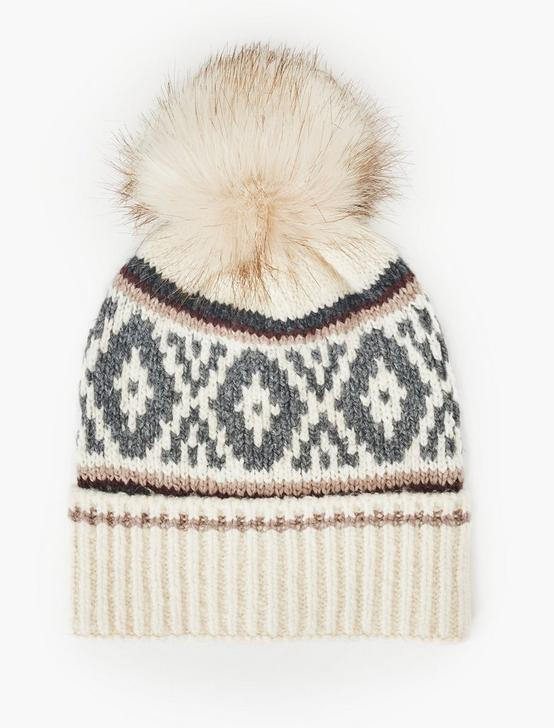 FAIRISLE KNIT BEANIE, NEUTRAL, productTileDesktop