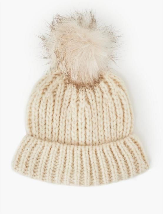 FAUX FUR BEANIE HAT, CREAM, productTileDesktop