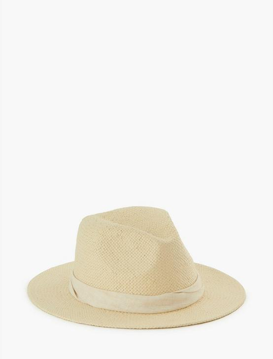TWO TONE FEDORA HAT, CREAM, productTileDesktop