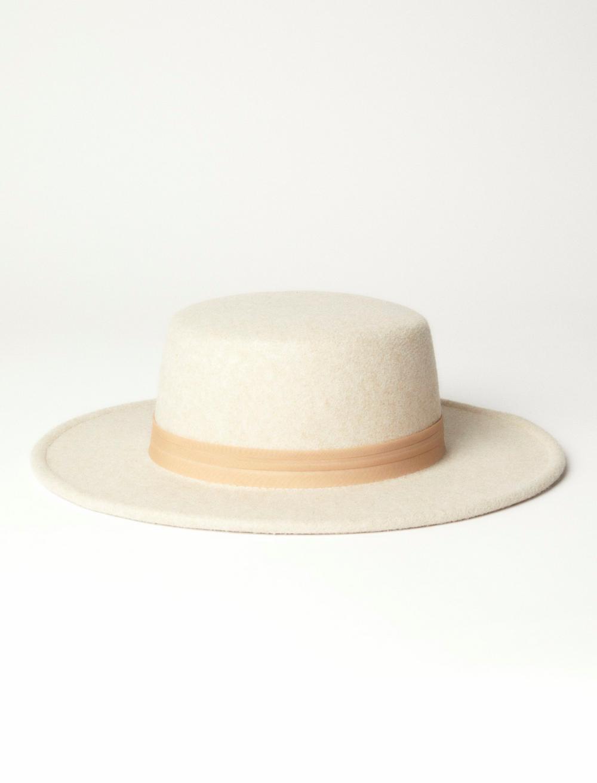 GROSGRAIN TRIM BOATER HAT, image 1