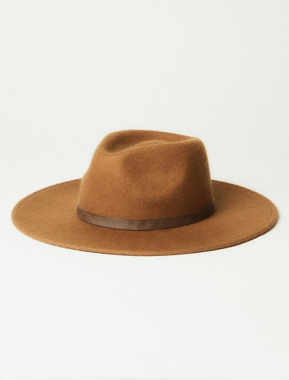 BROWN WIDE BRIM WOOL RANGER HAT, image 1