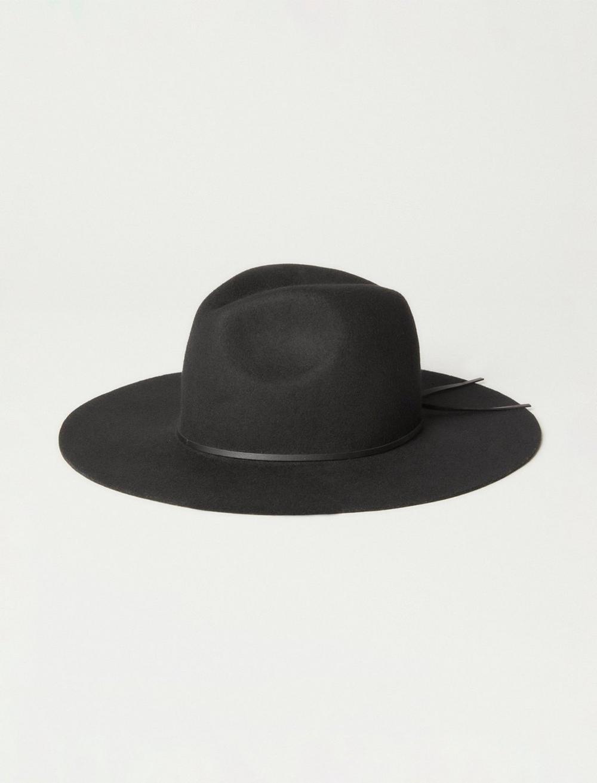 THIN LEATHER TRIM WIDE BRIM WOOL HAT, image 1