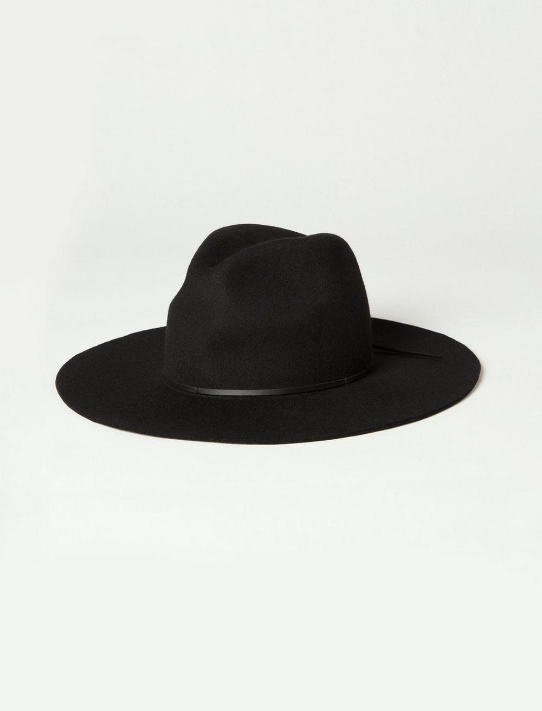 THIN LEATHER TRIM WIDE BRIM WOOL HAT, image 2