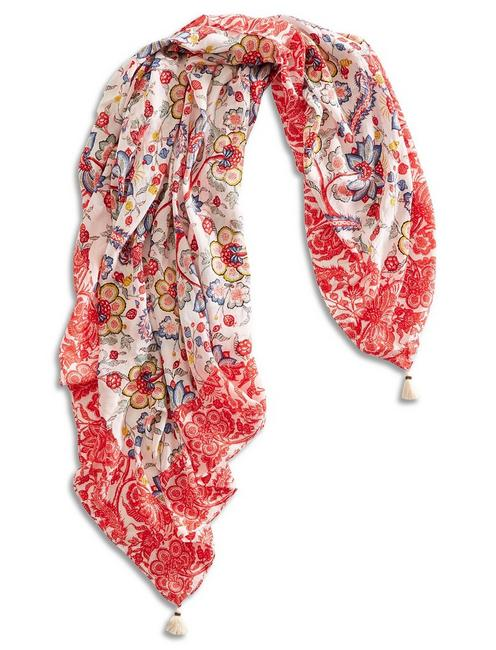 DAISEN FLORAL SQUARE, LIGHT RED