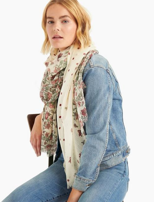 FADED FLORAL DOT SCARF, MULTI