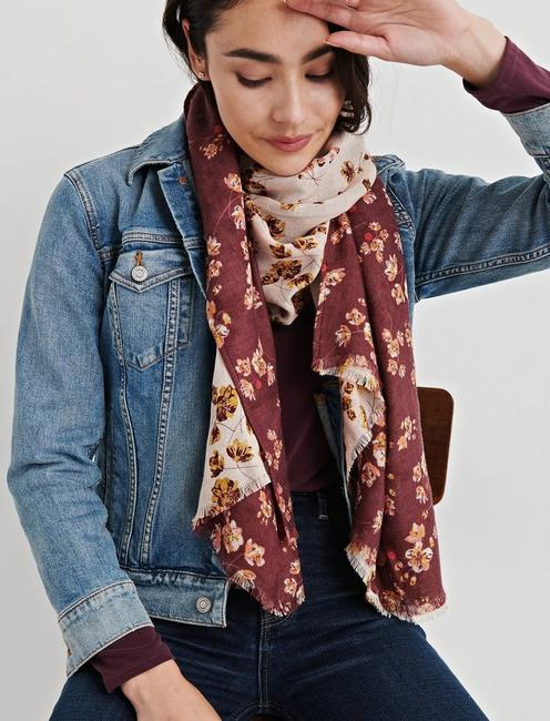 FLORAL DUOFOLD SCARF,
