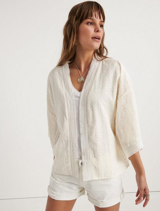 EMBROIDERED EYELET SHORT KIMONO, WHISPER WHITE, productTileDesktop