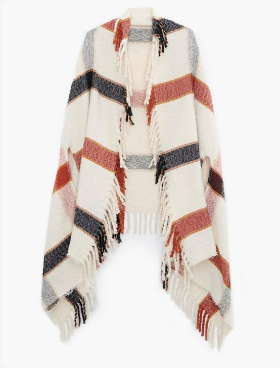 PLAID CAPE KIMONO, CREAM MULTI, productTileDesktop
