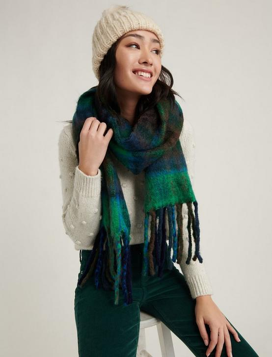 BRUSHED PLAID SCARF, BLUE MULTI, productTileDesktop