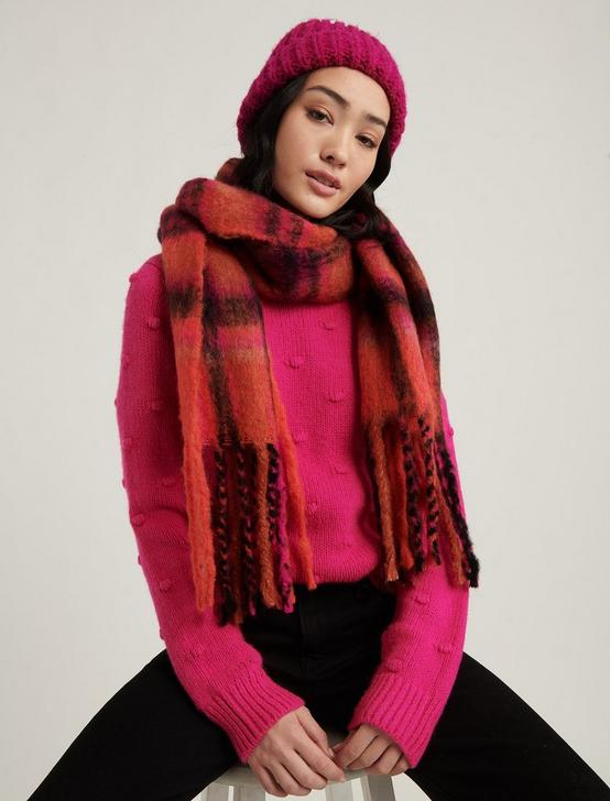 BRUSHED PLAID SCARF, RED MULTI, productTileDesktop
