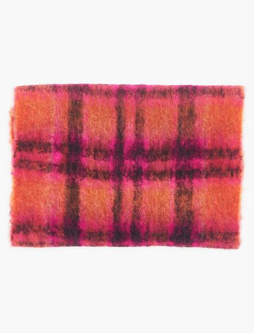BRUSHED PLAID SCARF, RED MULTI