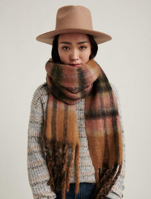 BRUSHED PLAID SCARF, NEUTRAL