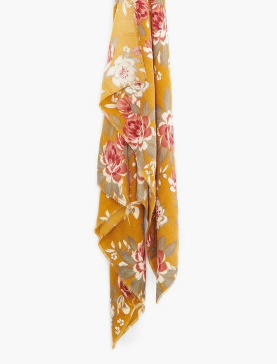 BRUSHED FLORAL SCARF, MUSTARD MULTI, productTileDesktop