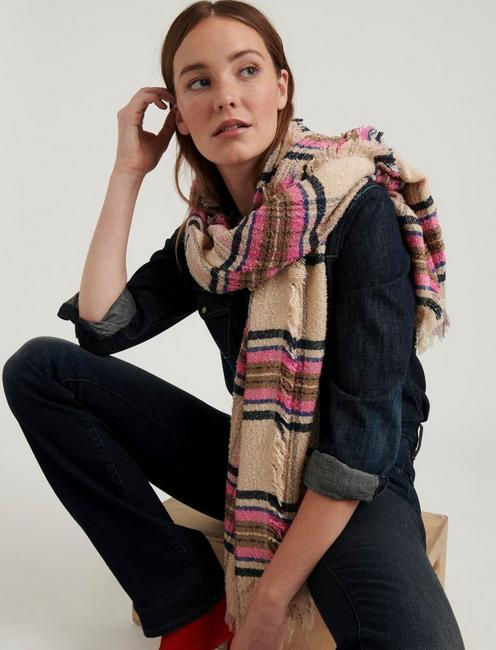 PLAID TEXTURE SCARF, MULTI