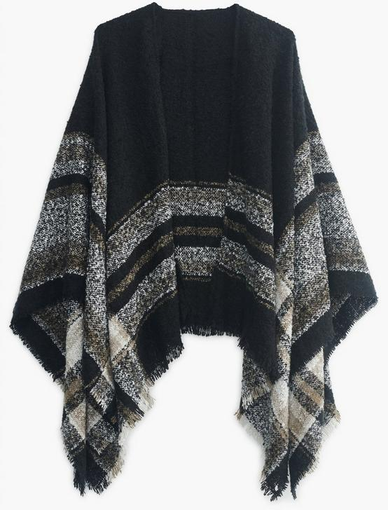 TEXTURED PLAID KIMONO, CHARCOAL MULTI, productTileDesktop