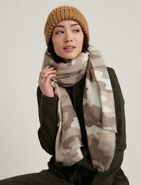 BRUSHED CAMO SCARF, NEUTRAL