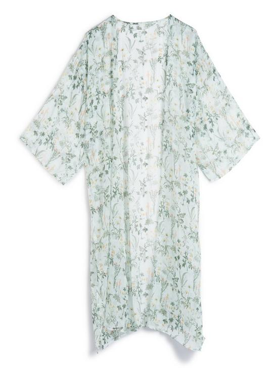 PRINTED FLORAL DUSTER KIMONO, SAGE, productTileDesktop