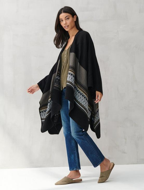 GEO BORDER HEAVY WEIGHT KIMONO, BLACK, productTileDesktop