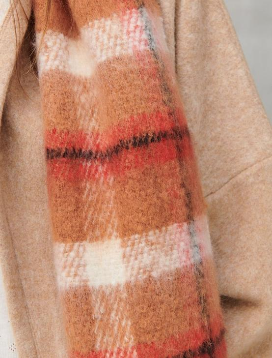 TAN AND RED PLAID RECTANGLE SCARF, 231 TAN, productTileDesktop